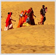 Family Walking in Thar Desert Sam Sand Dunes Jaisalmer
