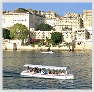 Tourist Boat Passing front of Lake Palace, Udaipur